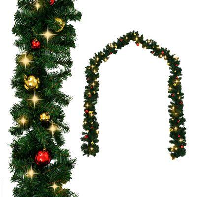 vidaXL Коледен гирлянд, декориран с топки и LED лампички, 10 м