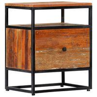 vidaXL Нощно шкафче, 40х30х50 см, регенерирано дърво масив и стомана