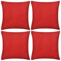 vidaXL Калъфки за възглавници, 4 бр, памук, 40 x 40 см, червени