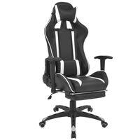 vidaXL Офис рейсинг стол, накланящ се, с подложка за крака, бял