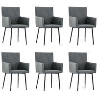 vidaXL Трапезни столове с подлакътници, 6 бр, тъмносиви, текстил