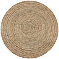 vidaXL Плетен килим от юта, 120 см, кръгъл