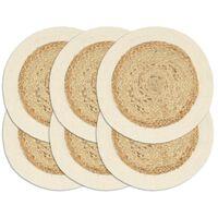 vidaXL Подложки за хранене 6 бр естествени 38 см кръгли юта и памук