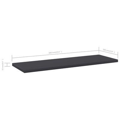 vidaXL Рафтове за етажерка, 8 бр, сиви, 60x20x1,5 см, ПДЧ