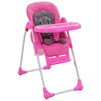 vidaXL Високо бебешко столче за хранене, розово и сиво
