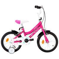 vidaXL Детски велосипед, 14 цола, черно и розово