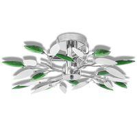 Полилей с бели и зелени листа от акрилен кристал, с 3 х Е14 ел. крушки