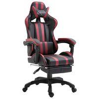 vidaXL Геймърски стол с подложка за крака виненочервен изкуствена кожа