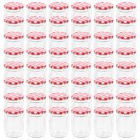 vidaXL Стъклени буркани за сладко с бяло-червени капачки 48 бр 230 мл