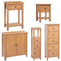 vidaXL Комплект 5 бр мебели за дневна от твърда дъбова дървесина
