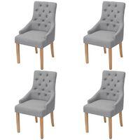 vidaXL Трапезни столове, 4 бр, светлосиви, текстил