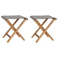 vidaXL Сгъваеми столове, 2 бр, тиково дърво масив и тъмносив плат