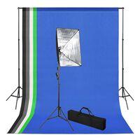 vidaXL Комплект за фото студио с фонове и софтбоксове