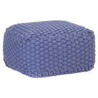 vidaXL Ръчно плетен пуф, син, 50x50x30 см, памук