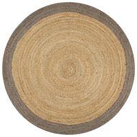 vidaXL Ръчно тъкан килим от юта, сив кант, 150 см