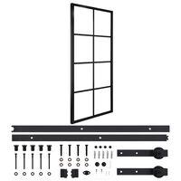 vidaXL Плъзгаща врата, алуминий и ESG стъкло с хардуер, 76x205 см