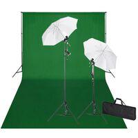 vidaXL Студиен комплект: зелен фон 600 х 300 см и светлини