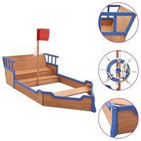 vidaXL Пясъчник пиратски кораб, чам, 190x94,5x136 см