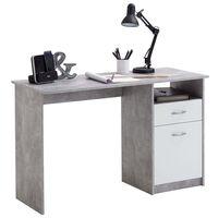 FMD Бюро с 1 чекмедже, 123x50x76,5 см, цвят бетон и бяло