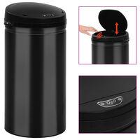 vidaXL Кош за смет с автоматичен сензор 50 л въглеродна стомана черен