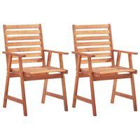 vidaXL Градински трапезни столове, 2 бр, акация масив