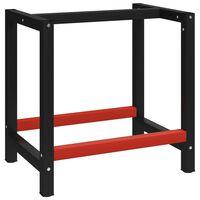 vidaXL Рамка за работна маса, метал, 80x57x79 см, черно и червено