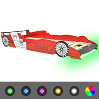 """vidaXL Детско легло """"състезателна кола"""", LED лента, 90x200 cм, червено"""