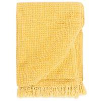 vidaXL Декоративно одеяло, памук, 220x250 см, горчица