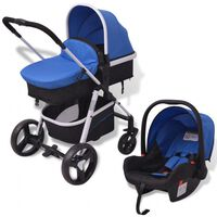 vidaXL Бебешка количка 3-в-1, алуминиева, синьо и черно