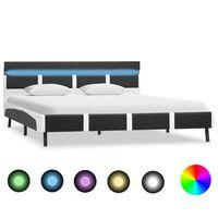 vidaXL Рамка за легло с LED, сива, изкуствена кожа, 120x200 cм