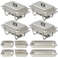 vidaXL Комплект съдове за бен мари, 4 бр, неръждаема стомана