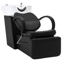 vidaXL Измивна колона за фризьорски салон черно и бяло изкуствена кожа