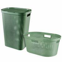 Curver Комплект кош и кошница за пране Infinity, 40 л + 60 л, зелен