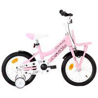 vidaXL Детски велосипед с преден багажник, 14 цола, бяло и розово