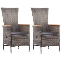 vidaXL Външни столове с възглавници, 2 бр, полиратан, сиви
