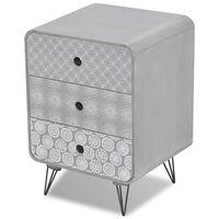 vidaXL Страничен шкаф с 3 чекмеджета, сив