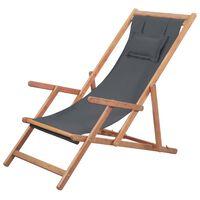 vidaXL Сгъваем плажен стол, текстил и дървена рамка, сив