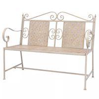 vidaXL Градинска пейка, 115 см, стомана, винтидж бяла