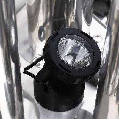 vidaXL Градински фонтан, сребрист, 48x34x153 см, неръждаема стомана