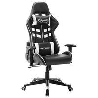vidaXL Геймърски стол, черно и бяло, изкуствена кожа