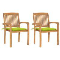 vidaXL Градински столове, 2 бр, светлозелени възглавници, тик масив