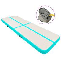 vidaXL Надуваем дюшек за гимнастика с помпа, 400x100x15 см, PVC, зелен
