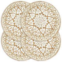 vidaXL Подложки за хранене, 4 бр, бели, 38 см, кръгли, юта