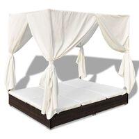 vidaXL Градинско лаундж легло със завеси, полиратан, кафяво