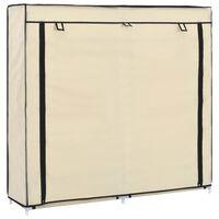 vidaXL Шкаф за обувки с покривало, кремав, 115х28х110 см, плат