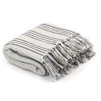 vidaXL Декоративно одеяло, памук, ивици, 220x250 см, сиво и бяло
