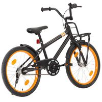 vidaXL Детски велосипед с преден багажник, 20 цола, черно и оранжево