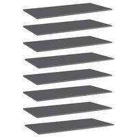 vidaXL Рафтове за етажерка, 8 бр, сив гланц, 80x30x1,5 см, ПДЧ