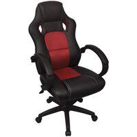 vidaXL Директорски офис стол, червен, изкуствена кожа