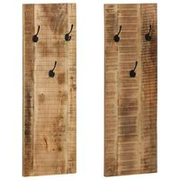 vidaXL Закачалки за стена, 2 бр, мангова дървесина масив, 36x110x3 см